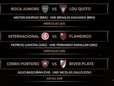Asignados los árbitros de Boca y River para la vuelta de cuartos. CONMEBOL