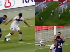 Mbappé la puso en la cabeza de Sarabia, con caño incluido. beINSports