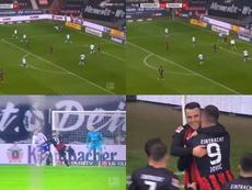 Jovic tardó diez minutos en volver a marcar con el Eintracht. Captura/BTSport