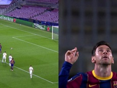 Messi scored Barca's first goal. Screenshot/MovistarLigadeCampeones
