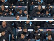 Guardiola enfureció por la falta grave de Stones. Capturas/MovistarLigaDeCampeones