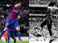 Leo Messi vise Pelé. EFE