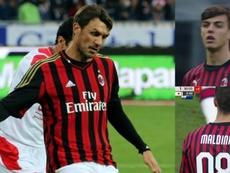 Daniel Maldini, filho de Paolo e neto de Cesare, estreou como jogador do Milan. AFP/ESPN