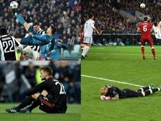 Collage con las chilenas de Cristiano y Bale y la desolación de Ulreich y Karius. EFE/AFP