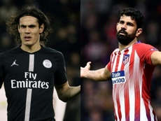 Edinson Cavani and Diego Costa. Could they be swapping shirts? AFP/Archivo