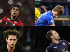 Lucas Paquetá, Nicolò Barella, Adrien Rabiot e Aaron Ramsey, possíveis contratações. EFE/AFP