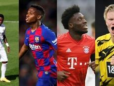 Vinicius, Ansu Fati,Davies e Haaland estão entre os 20 melhores jovens da temporada. EFE/AFP