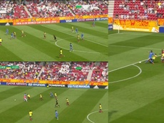 Colombia gave away a goal in ridiculous fashion against Ukraine. Collage/DirecTVSports