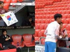 Kang-in Lee aclaró la polémica con un joven aficionado. Captura/Movistar