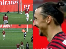 Ibra laughed at Ronaldo. Screenshot/beINSports