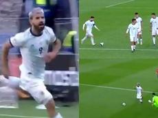 Messi pegou todos de surpresa e presenteou Agüero. Captura/DAZN