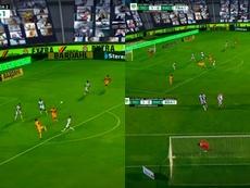 Gignac almost scored against Pachuca. Screenshot/TUDN
