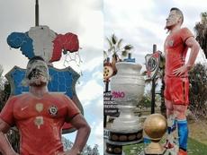 La statue d'Alexis vandalisée. Captura/TocopillaOnline