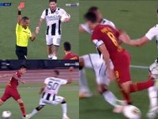 Perotti intentó un regate y acabó expulsado. Captura/beINSports