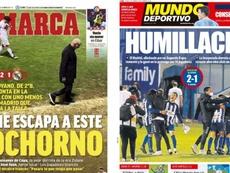 Capas dos jornais esportivos Marca e Mundo Deportivo.
