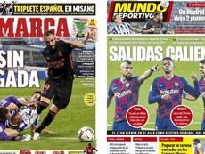 As capas da imprensa esportiva. Marca/MundoDeportivo