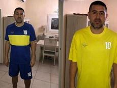 Estas serían las camisetas del partido de despedida de Riquelme. Captura/InformacionCABJ