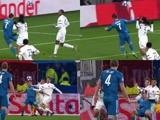 La Juve reclamó hasta dos penaltis. Captura/MovistarLigadeCampeones