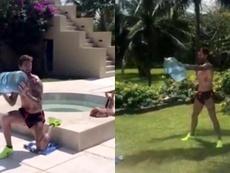 Sergio Ramos entrenó con una garrafa llena de agua. Captura/SergioRamos