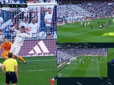 El VAR no concedió el gol al Madrid. Captura/beINSports