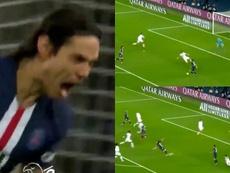 Cavani marca na goleada contra o Lyon. Captura/beINSports