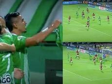 Daniel Muñoz firmó el gol 5.000 de Nacional en Liga. Captura/WINSports