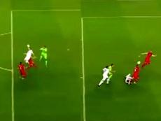 Error garrafal de Strakosha. Captura/UEFA