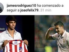 James suit Joao Félix sur Instagram et fait enfler les rumeurs. Collage/EFE/AFP/Instagram