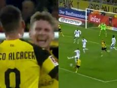 Alcácer se estreno como goleador con el Borussia Dortmund. Captura