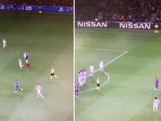 Messi bateu a falta 4,5 metros adiantado. Collage/adampeacock3