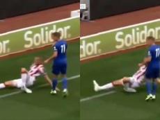 La espeluznante lesión de tobillo de Shawcross. Collage/LeicesterTV