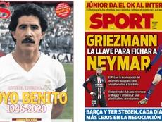 Les Unes des journaux sportifs en Espagne du 03 avril 2020. AS/Sport