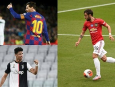 Messi, Cristiano... y Bruno Fernandes. AFP/EFE