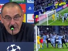 Sarri avaliou o golaço de Dybala. Captura/Movistar/ASTV
