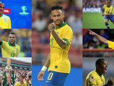 Neymar entra no clube dos 100 da Seleção Brasileira. Collage/EFE/AFP