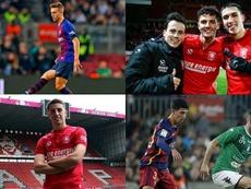 Los cuatro talentos de La Masia que ahora coinciden en el Twente. Montaje/EFE/Twente/Barcelona