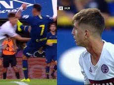 La insólita respuesta del árbitro a Belmonte por reclamar el planchazo. Captura/TNTSports