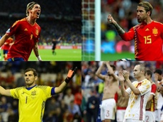 Ramos, Fernando Torres, Casillas e Iniesta estão na lista histórica da Espanha. Montagem/BeSoccer