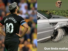 Agüero s'en sort indemne après un accident de la route. Collage/AFP/Aguero