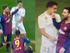 Messi a mis la main sur la bouche de Reguilón. Twitter @nmj_rafa/ @JLSanchez78