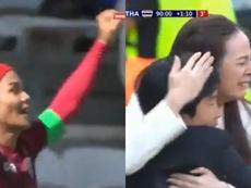 Kanjana Sungngoen firmó el primer gol de Tailandia en el Mundial 2019. Collage/Gol
