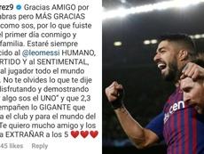 Suárez también tuvo palabras para Messi. Luissuarez9/AFP
