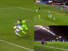 Collage of the sequence that led to Aguero's opening goal. Movistar+