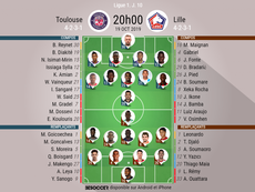 Les compos officielles du match de Ligue 1 entre Toulouse et Lille. AFP