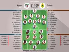 Compos officielles Algérie-Guinée, huitième de finale de la CAN 2019. BeSoccer