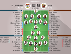 Compos officielles Bayer Leverkusen - Nice, Europa League J1, 22-10-2020. BeSoccer