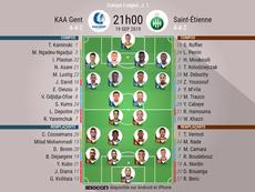 Compos officielles Genk-ASSE, Europa League J1, 19/09/2019. BeSoccer