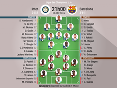 Compos officielles Inter-Barcelone. Ligue des Champions, J.6, 10/12/2019, BeSoccer