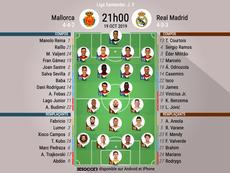 Compos officielles Majorque-Real Madrid, Liga, J.9, 19/10/2019, BeSoccer.