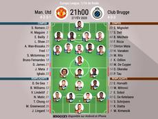Compos officielles Man United - Bruges, Europa League, 16ème retour, 27/02/2020, BeSoccer